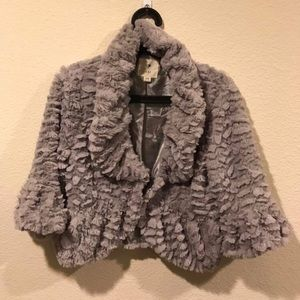 Gray chenille bell sleeve crop jacket